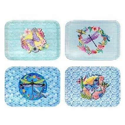 CAPRILO Set de 4 Bandejas Decorativas Rectángulares Mariposas. Vajillas y Cuberterias. Centros de Mesa