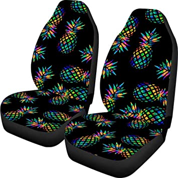 Amazon Com Orgypet Black Car Seat Covers Pineapple Patterned Set Of 2 Auto Cars Accessories Protectors Car Decor Universal Fit For Car Truck Suv Automotive