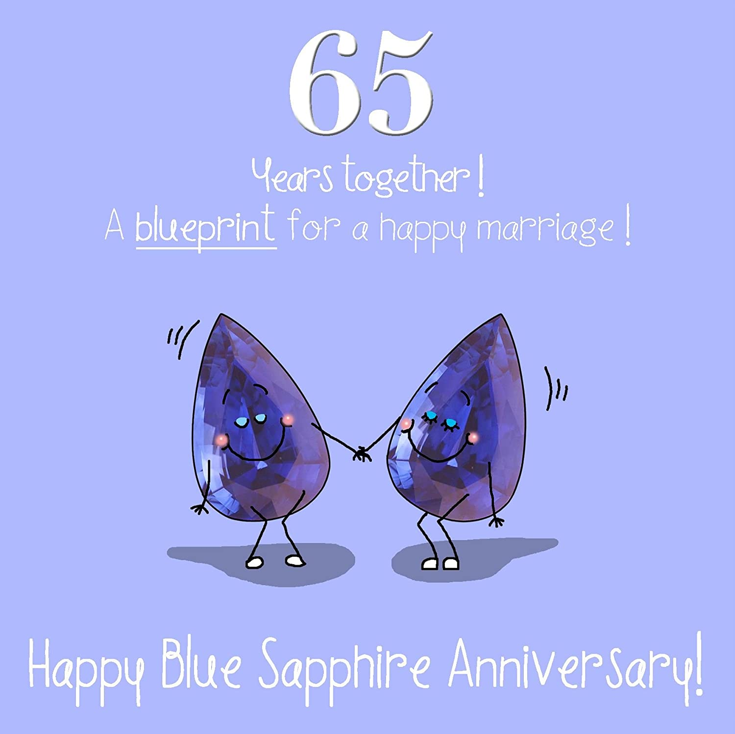 65th Wedding Anniversary Greetings Card - Blue Sapphire Anniversary Fax Potato