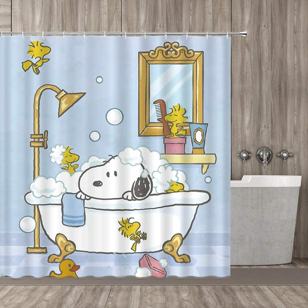 Bathing Dog Decoration Series, Playful Dog Bathing In Bathtub Bath Time Beauty Cleaning Pet Theme Illustration, Polyester Fabric Bathroom Shower Curtain, 70 Inch Long White Dog