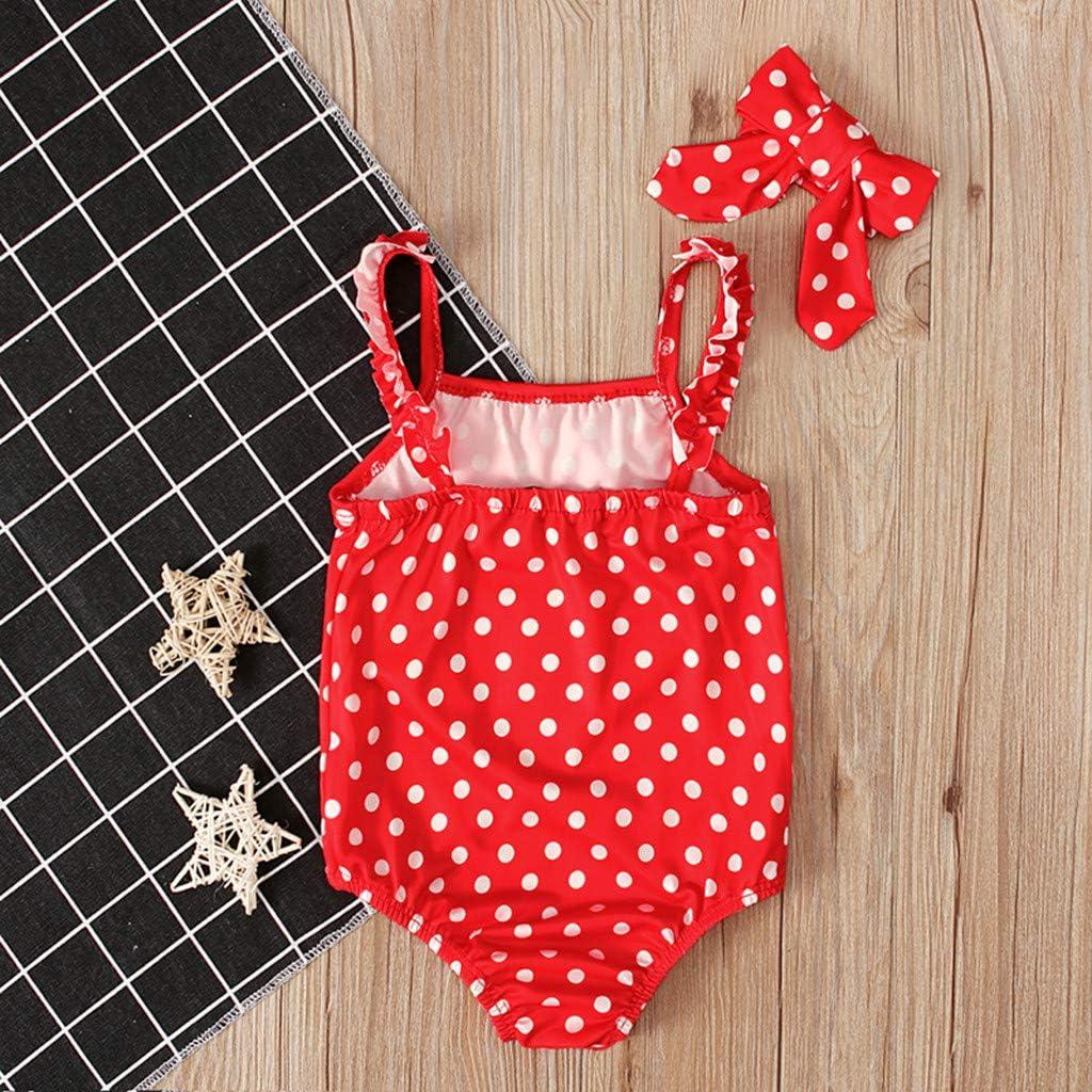Bowknot Fascia per Capelli da Mare Piscina Estivo MEIbax Ragazza Costume da Bagno Intero Senza Bretelle Beachwear con Stampa a Pois Swimsuit con Volant