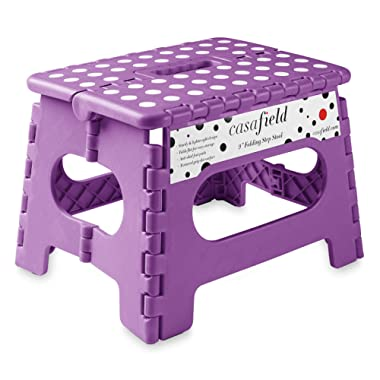 Casafield 9  Folding Step Stool with Handle, Purple - Portable Collapsible Small Plastic Foot Stool for Kids and Adults - Use in The Kitchen, Bathroom and Bedroom