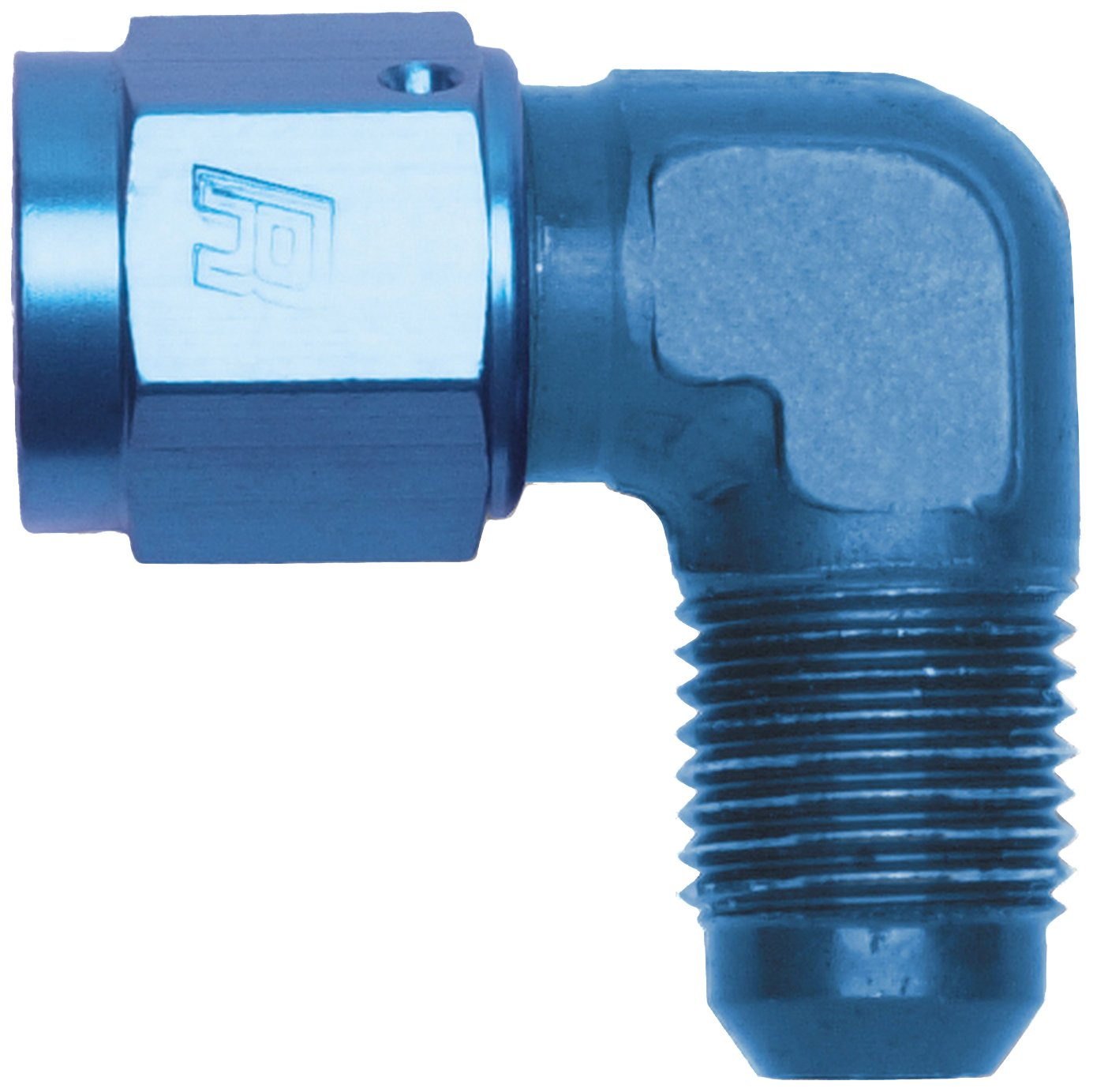 Russell 614806 Blue Anodized Aluminum 90-Degree Female -6AN to Male -6AN Adapter Fitting