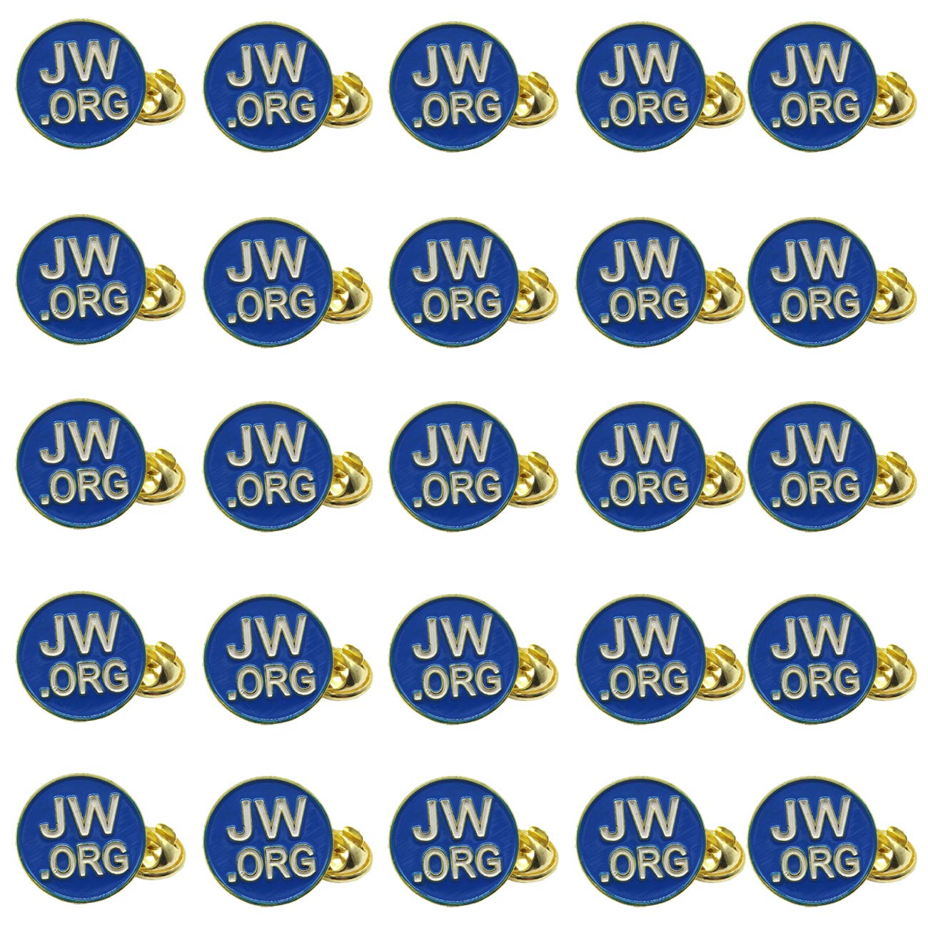 TIHOOD 25PCS Round Blue JW.org Lapel Pin - JW.org Neck Tie Hat Tack Clip Women or Men Suits-Gold Round Jehovah Witness Lapel Pin by TIHOOD