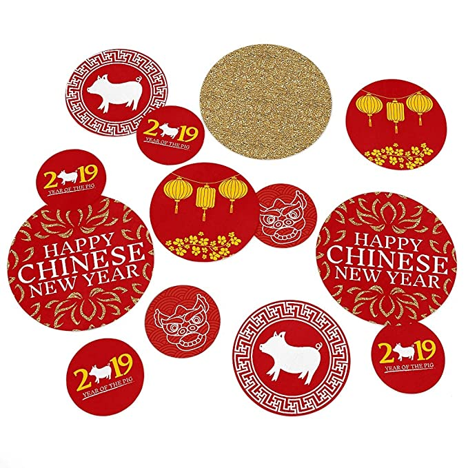 amazoncom chinese new year 2019 year of the pig party giant circle confetti new year party decorations large confetti 27 count toys games