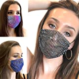Sparkly Rhinestone Mesh Mask for Women, ThingsBag Masquerade Nightclub Party Chain Bling Crystal Face Masks