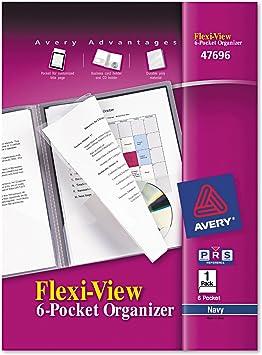 Navy Blue Avery 47696 Flexi-View 6-Pocket Organizer ~ Free Shipping