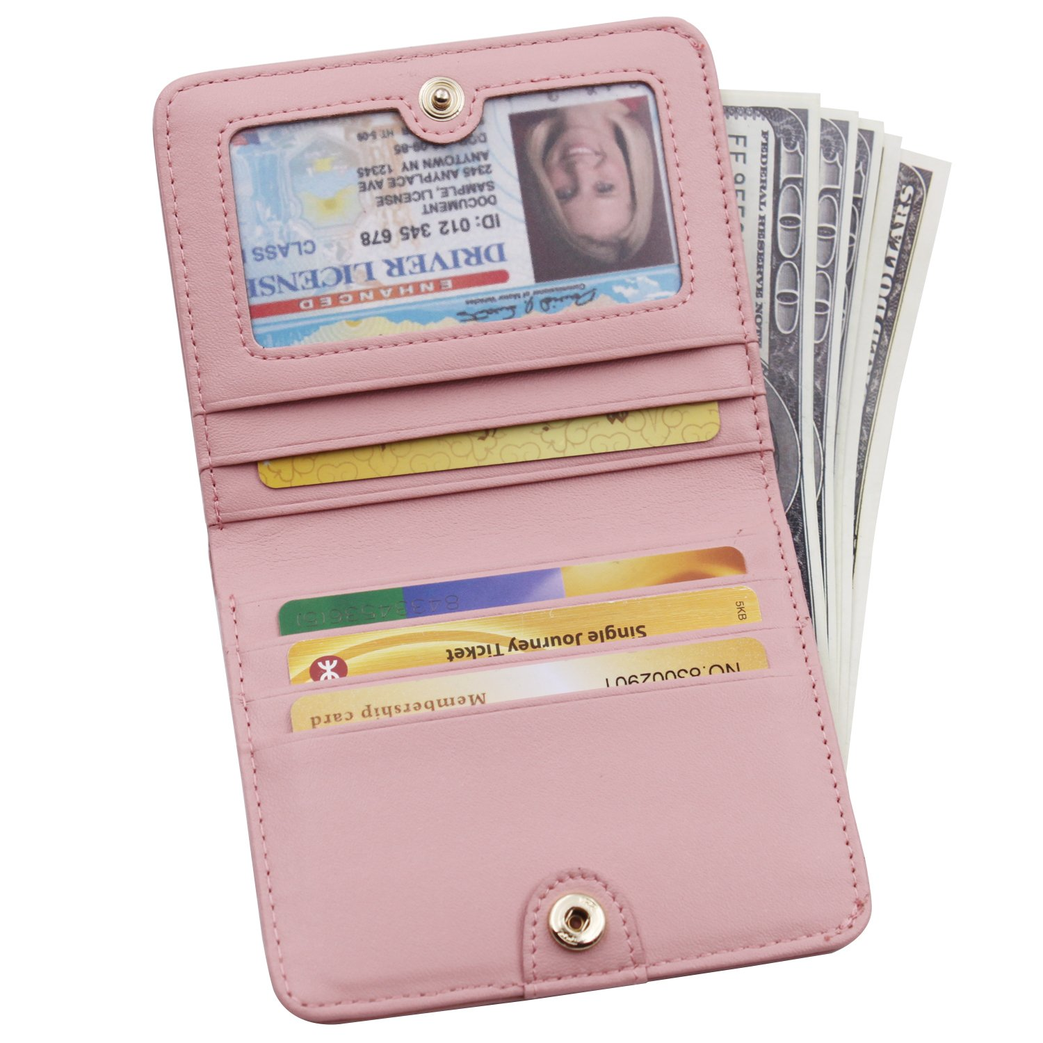 Women's Small Compact Bi-fold Leather Pocket Wallet Credit Card Holder Case with ID Card Window (New Pink) by ARRIZO (Image #6)