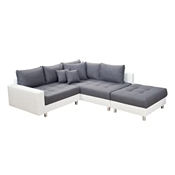 Modernes Ecksofa KENT 220cm Anthrazit Weiß Inkl. Hocker Und Kissen Ottomane  Sofa Schlafsofa Schlafcouch Couch