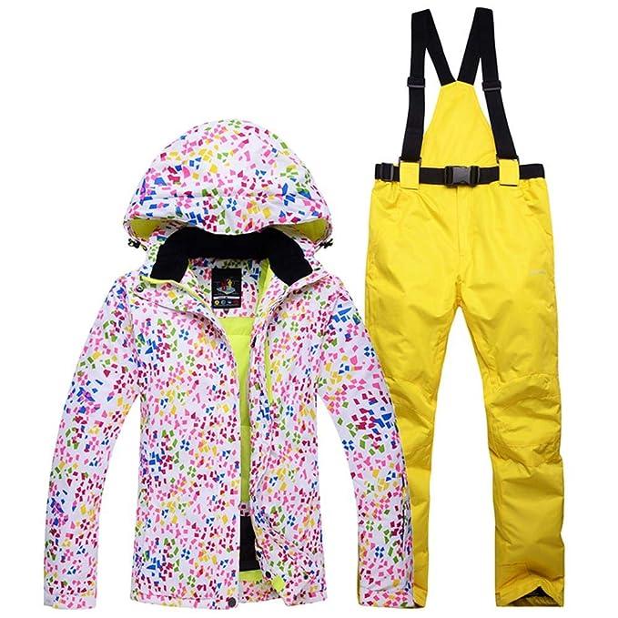 Chaqueta Esqui Mujer Pantalón Impermeable, Traje de Snowboard Abajo Cálido Impermeable Chica Tamaño Grande Sudadera con Capucha de Parka Invierno con ...