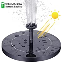 VITCOCO Solar Fuente Bomba, 3 W Fuente de Jardín Solar, Flotado Solar Panel Incorporada 1000 mAh Batería con 6 boquillas…