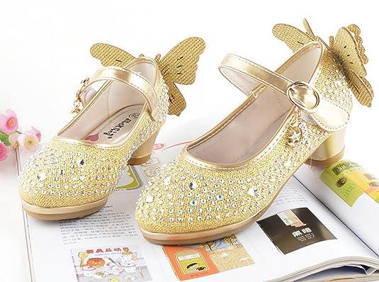 Eozy Kinder Mädchen Glitzer Prinzessin Schuhe Festliche Absatz Schuhe Pumps für Party Hochzeit Gold EU31=33 lyWc74