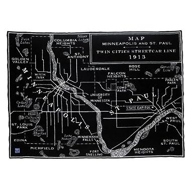 Faribault Woolen Mill Black/Smoke Map Throw-Twin Cities