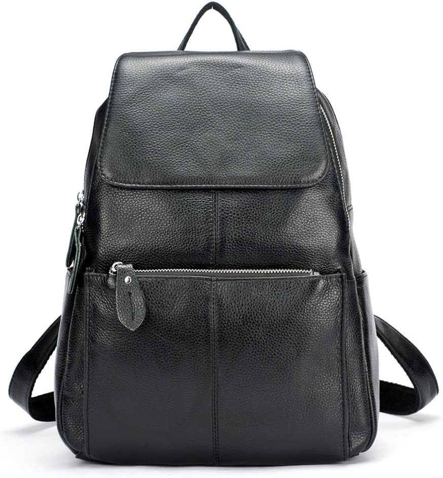 15 Colors Real Soft Leather Women Backpack Fashion Ladies Travel Bag Preppy Style Schoolbags For Girls (Black)