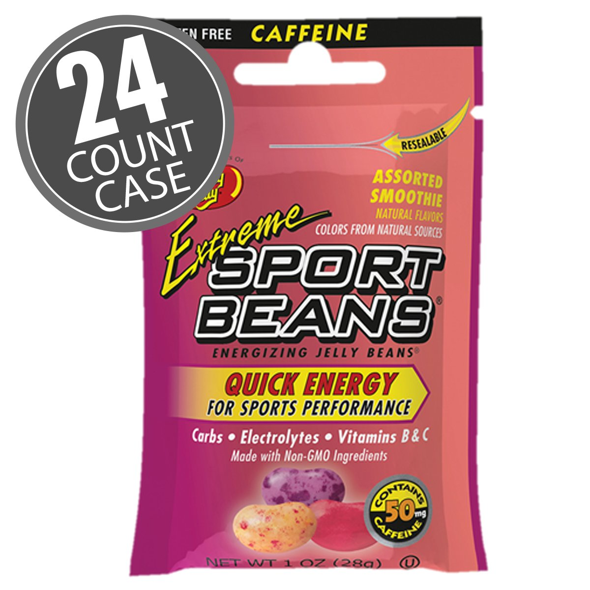 Jelly Belly Extreme Sport Beans, Caffeinated Jelly Beans, 24 Pack, 1-oz Each (Smoothie Assorted Caffeinated) by Jelly Belly