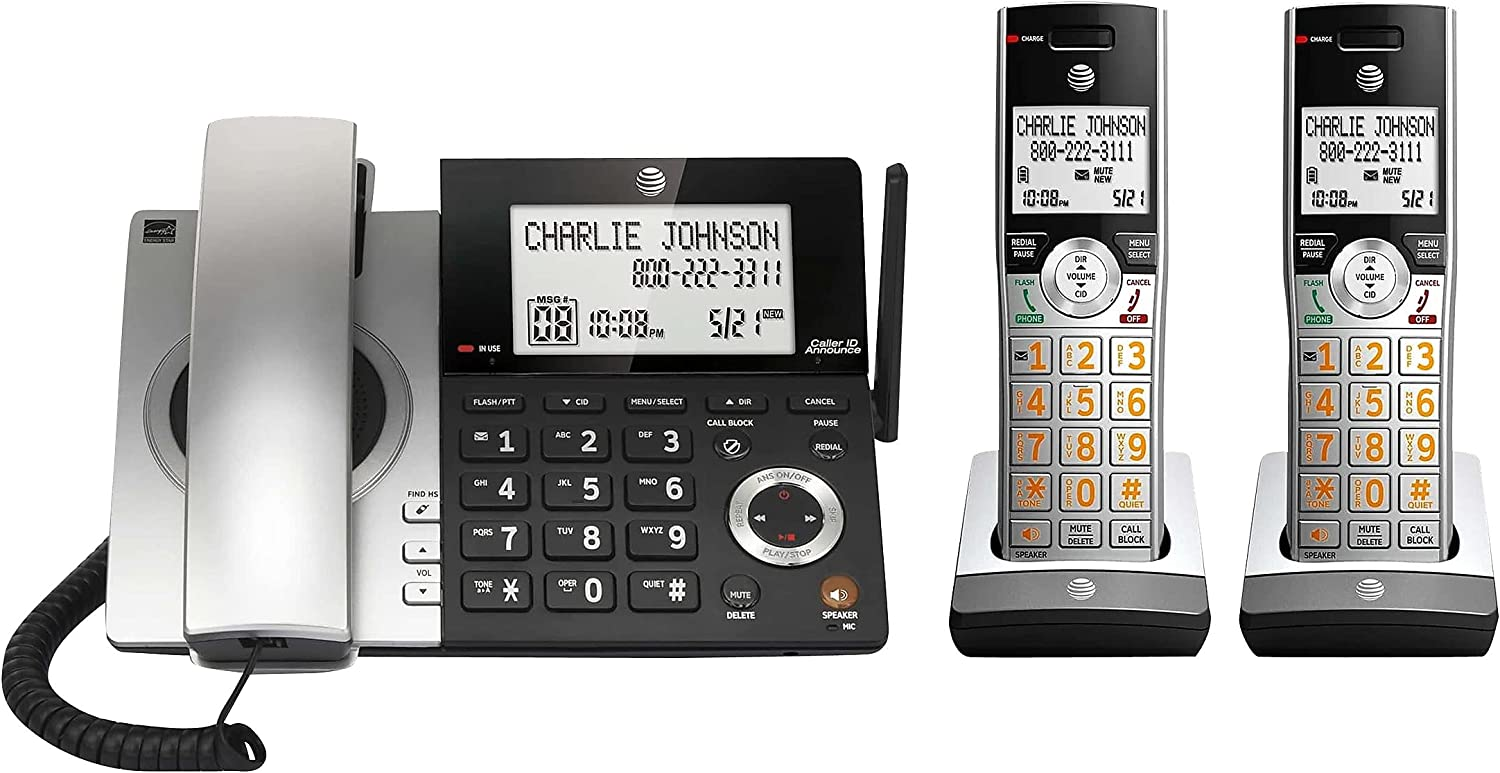 AT&T CL84207 DECT 6.0 2-Handset Corded/Cordless Phone for Home with Long Range, Answering Machine, Call Blocking, Caller ID Announcer, Intercom, and Line-Power Mode, Silver/Black