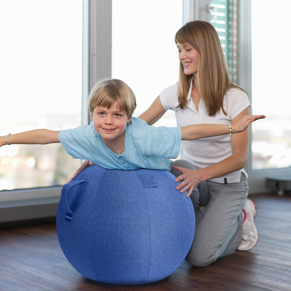 Neustern Balance Ball Cover -Sitting Ball Chair Cover for Yoga, Office, Pilates, Birthing Ball Professional Quality Design Exercise Ball Chair with Handel Machine Washable (Navy Blue, 65cm) by Neustern (Image #6)