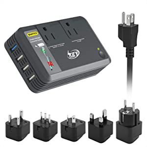 Key Power Step Down 220V to 110V Voltage Converter and International Travel Adapter, 100V to 240V Dual Voltage Power Strip, Quick Charge 3.0 USB - [Use for USA Appliance Overseas]