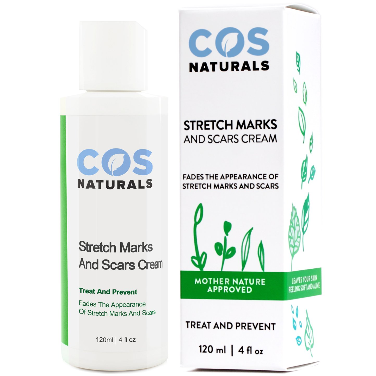 COSNATURALS SKIN CARE COS Naturals ANTI STRETCH MARK AND SCAR CREAM Natural Organic TREAT & PREVENT Body Moisturizer With Peptides Vitamin C B E Hyaluronic Acid Best For Pregnancy 4 Oz. COS-STR