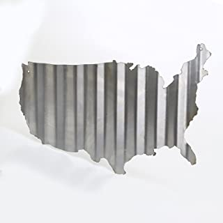 """product image for Surf To Summit Plasma Cut Corrugated Tin USA Map (24"""" x 16"""") Sign Metal Sign Home Decor Wall Art Garage Art Great Gift Man Cave Plasma Cut Steel Barn Art Rustic Sign Birthday Gift Patriotic Sign"""
