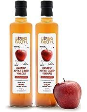 """1L - Living Earth - Vinaigre de cidre de pomme organique, avec """"la mère"""", non filtré, non raffiné et non pasteurisé. Très riche en minéraux, vitamines et enzymes."""