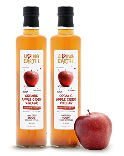 Living Earth Organic Apple Cider Vinegar, with The Mother, 1 Litre . RAW, UNFILTERED & UNPASTEURIZED. Made From 100% Organic Apples. Full Of Beneficial Minerals, Vitamins & Enzymes. Great Tasting With Health Benefits.