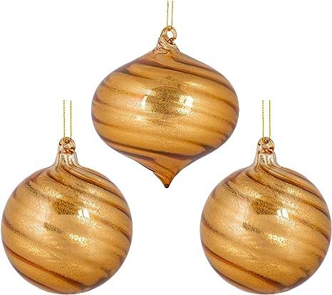 Amazon Com Roman Swirl Ball And Onion Gold Tone 5 Inch Glass Christmas Ornaments Set Of 3 Home Kitchen