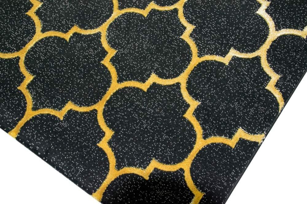 Carpetia Teppich modern Wohnzimmerteppich Orient marokkanisches Muster schwarz grau grau grau Gold Größe 80 x 300 cm f26b92