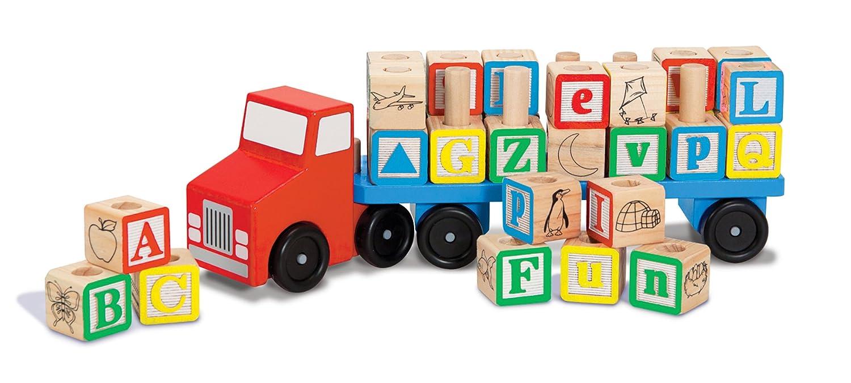 Melissa Doug Alphabet Blocks Wooden Truck Educational Toy