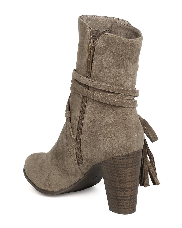 Breckelle's GA27 Women Faux Suede Wraparound Tassel Chunky Heel Bootie - Beige (Size: 7.0) by Breckelle's (Image #3)