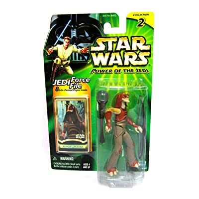 Star Wars GUNGAN Warrior Power of The Jedi Action Figure & Jedi Force File: Toys & Games