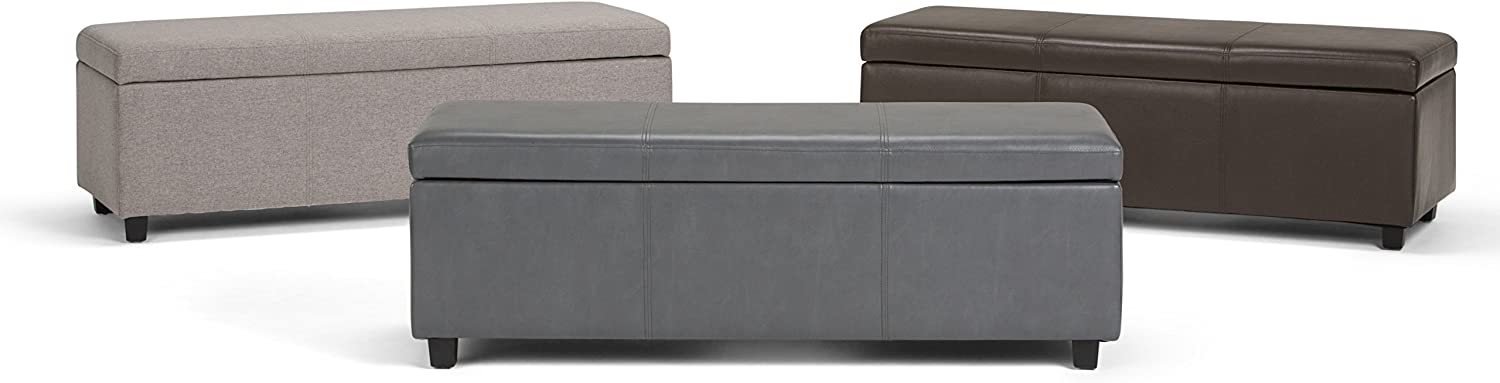 Entryway Simpli Home Avalon 48 inch Wide Rectangle Lift Top Storage Ottoman Bench in Upholstered Cloud Grey Linen Look Fabric with Large Storage Space for the Living Room Bedroom Contemporary