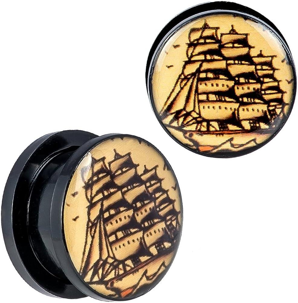 Screw Fit Black Acrylic Sailing Ship Design Ear Plugs New Arrival