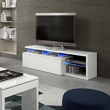 HOGAR24.es Mueble Salon Comedor TV con Leds Color Blanco Brillo ...