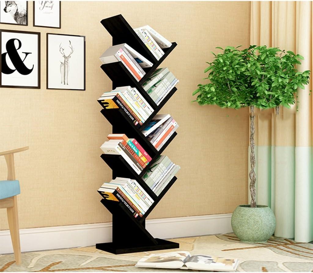 Estantes creativos bastidores estantes de árboles sala de estar dormitorio periódicos stand de exposición piso biblioteca para niños (Color : Black): Amazon.es: Hogar