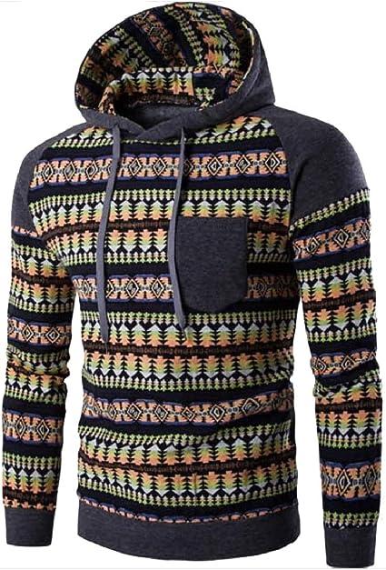 Comaba Mens Hood Baggy Splice Pullover Baggy Drawstring Sweatshirts