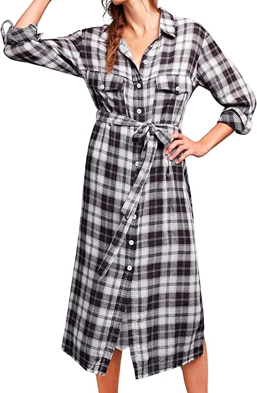 Women Long Sleeve Plaid Pattern Tunic Tops Shirt Casual Dress