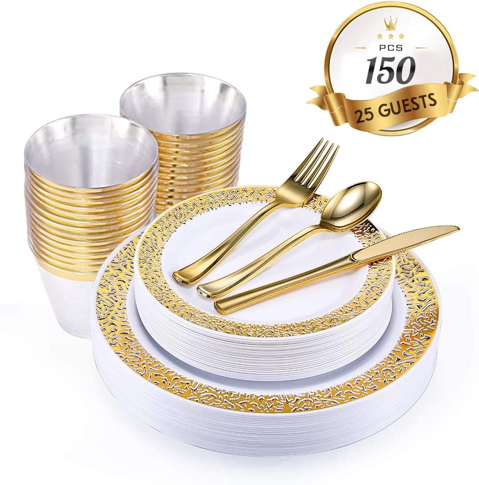 150 Piece Gold Dinnerware Set with Plastic Silverware, Elegant Lace Disposable Plastic Plate Setting Includes: 25 Dinner Plates, 25 Dessert Plates, 25 Forks, 25 Knives, 25 Spoons, 25 Cups…