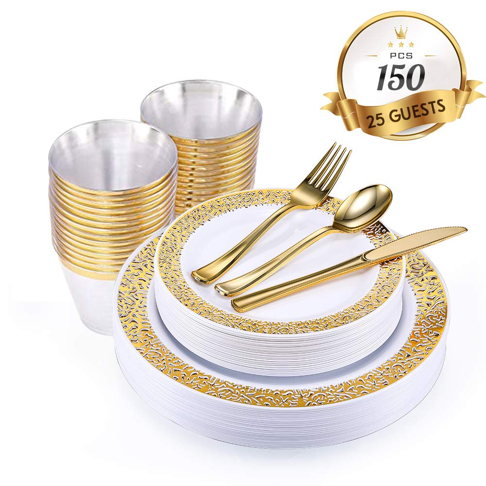 150 Piece Gold Dinnerware Set with Plastic Silverware, Elegant Lace Disposable Plastic Plate Setting Includes: 25 Dinner Plates, 25 Dessert Plates, 25 Forks, 25 Knives, 25 Spoons, 25 Cups by JOLLY CHEF