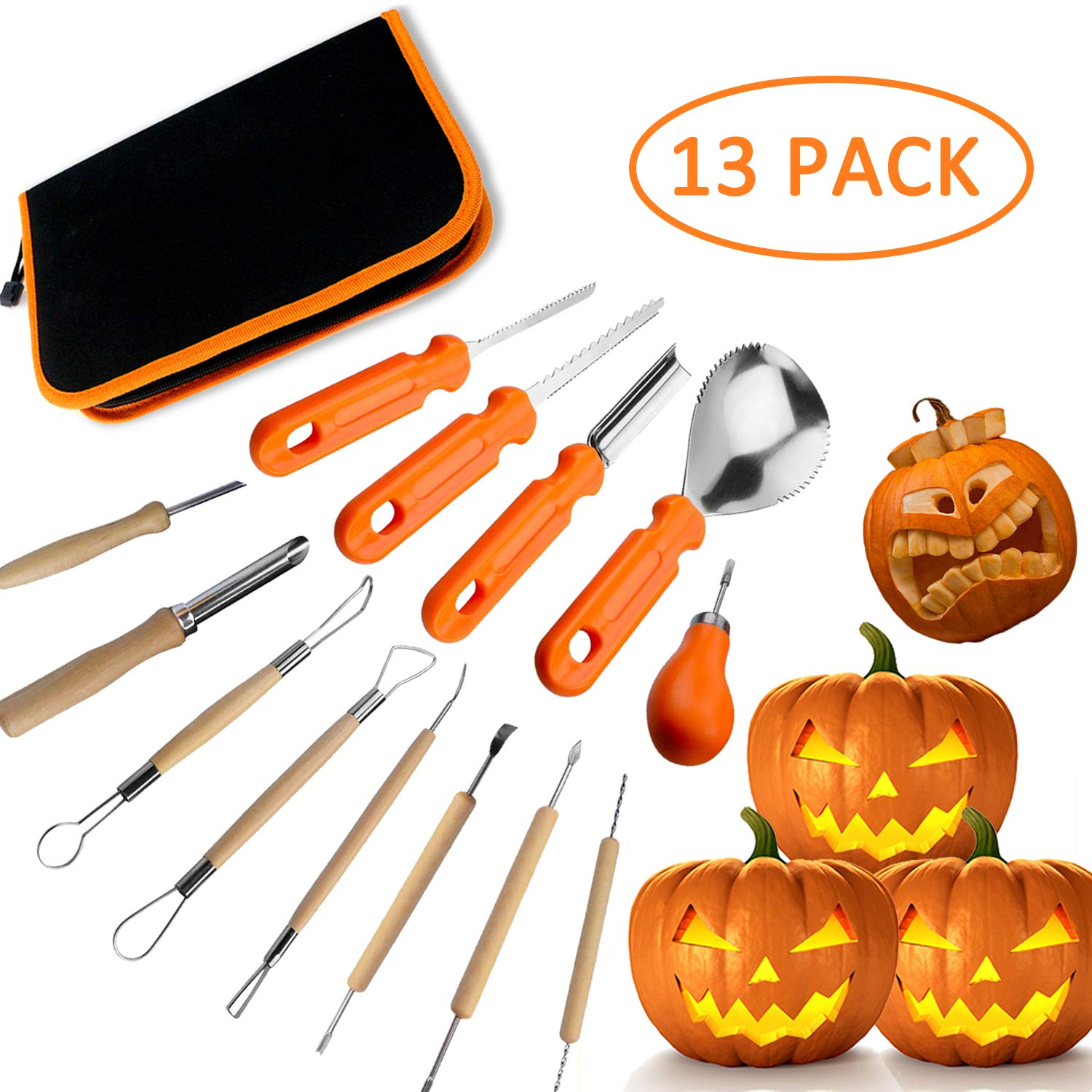 Halloween Pumpkin Carving Kit, Professional pumpkin cutting supplies Kit, Easily Sculpting Jack-O-Lanterns,13 Pieces by color mogu