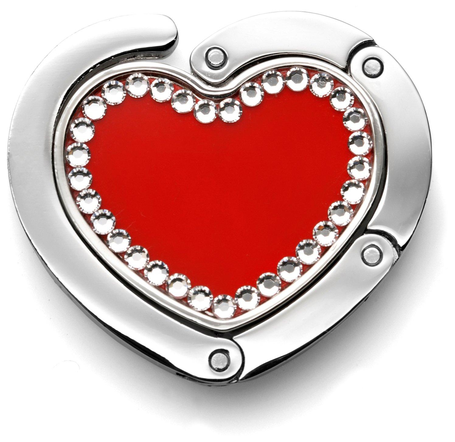 Handbag-hanger Purse Hanger Heart Shaped in Black or Red - Crystallized with Swarovski-elements - By Fine European Stuff (Red)