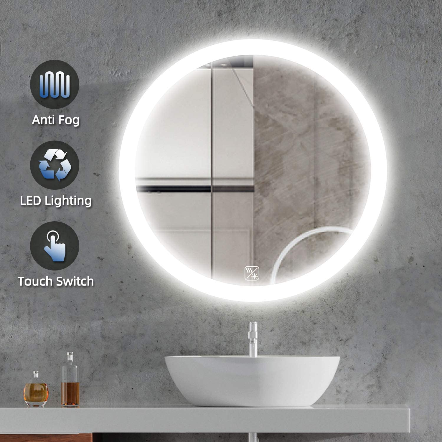 SL4U 24 Inch LED Lighted Round Mirror | Modern Bathroom Mirror with Lights, Wall Mount Circle Makeup Mirror for Vanity