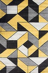 """The Rug House Tapis de Salon Rio Ocre et Jaune Moutarde, Motif mosaïque Moderne géométrique de tuiles 160cm x 230cm (5'3"""" x 7'6"""")"""