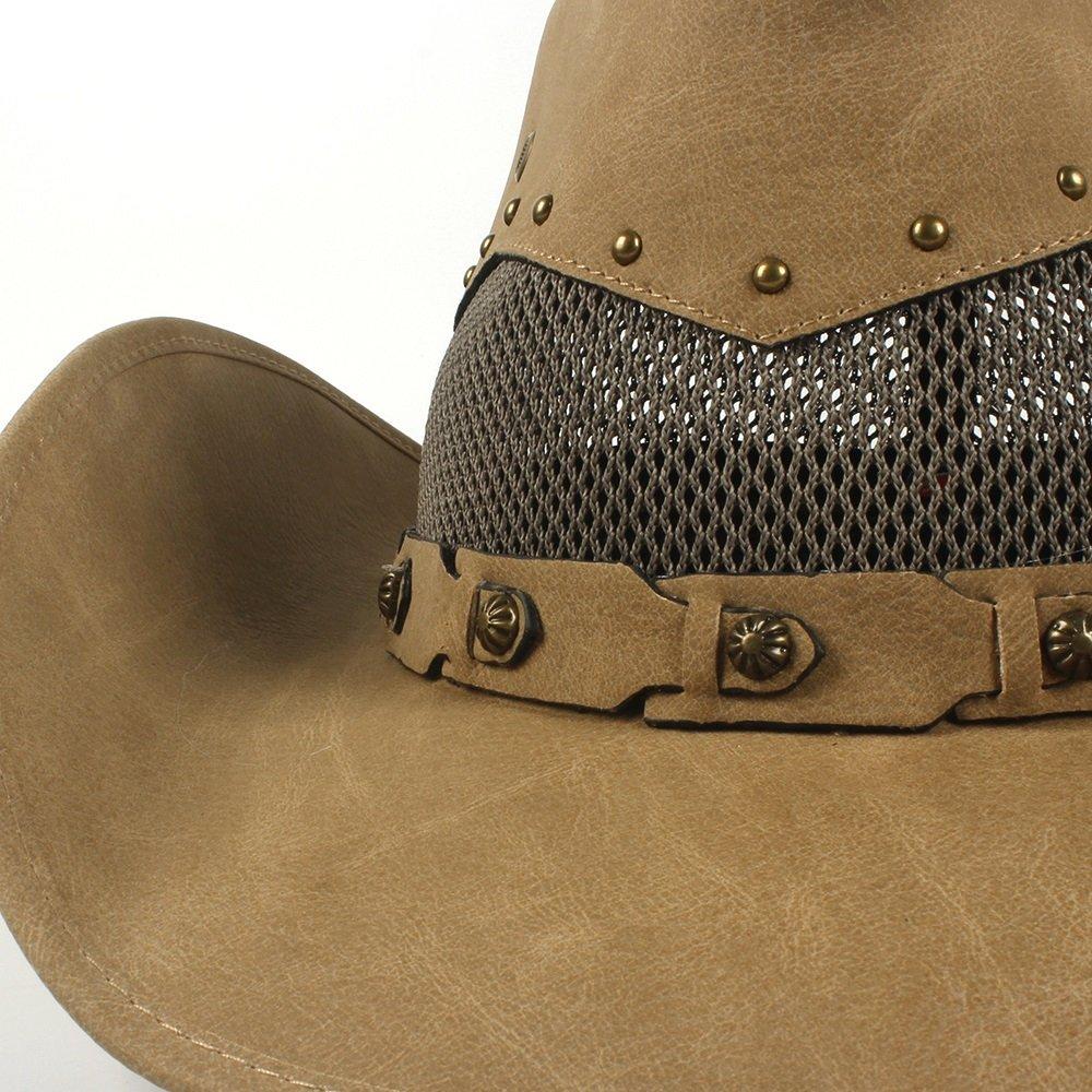 Colore : Khkai, Dimensione : 58-59cm GR Cappello da Cowboy Western in Pelle da Uomo con Cappelli di Madrina e pap/à 58-59 cm