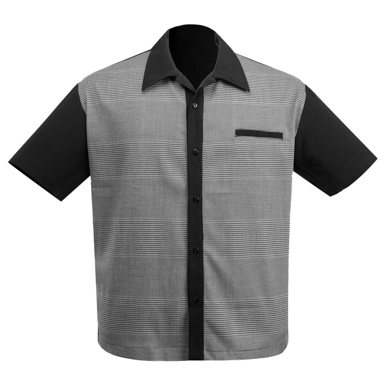 Vintage Mens Clothing | Retro Clothing for Men Steady Clothing Mens Bad News Felix Bowling Shirt Black $69.99 AT vintagedancer.com