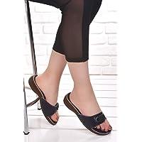 Ceyo 6500 Minelli Ortopedik Bayan Terlik Ayakkabı LACİVERT