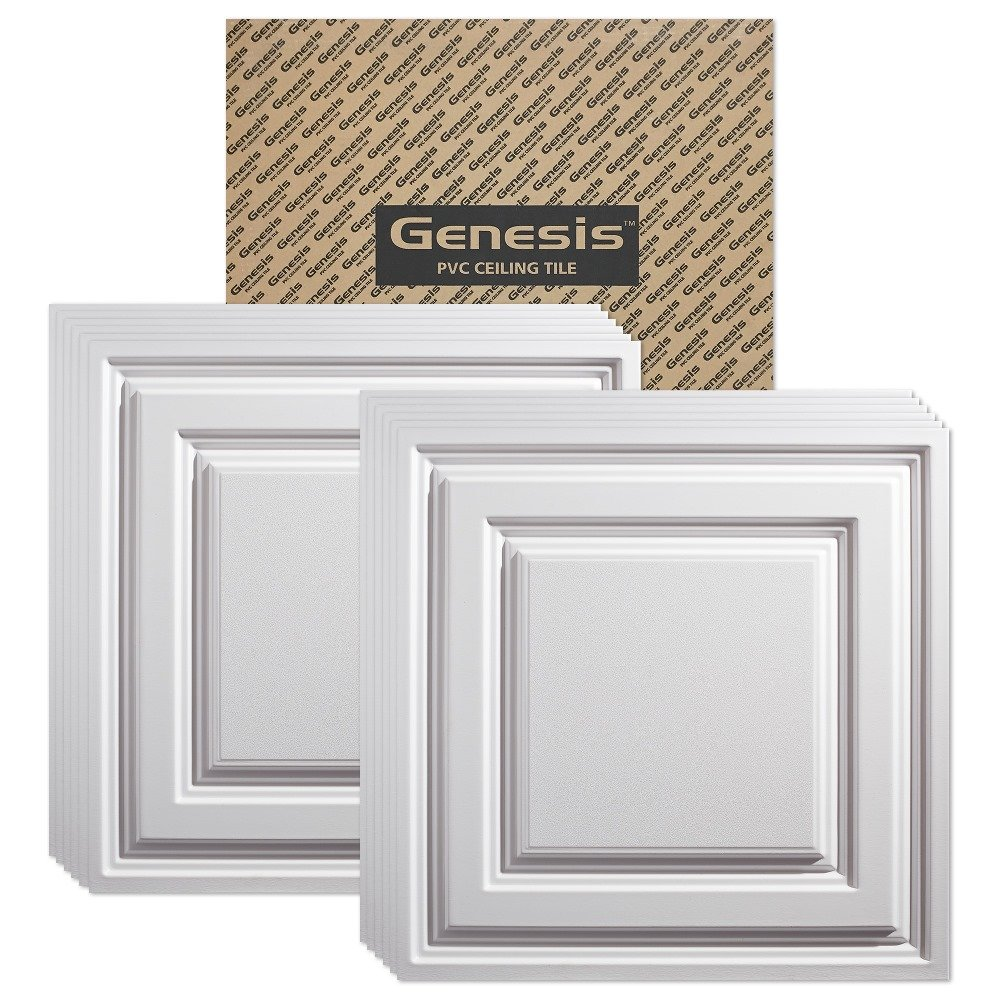 Genesis - Icon Relief White Ceiling Tile (Carton of 12) - Drop/Grid Ceiling - Fast and Easy Installation (2' x 2' Tile) by Genesis