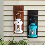 Tied Ribbons Garden Decor Hanging Lantern Candle Holder With Wooden Shelve (Set Of 2)