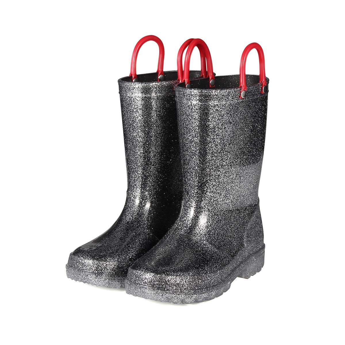 KomForme K Glitter Kids Rain Boots,Light Up Toddler Boots with Easy-on Handles for Girls