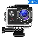 Victure Action Camera 12MP Full HD 1080P Waterproof Action Cam 30M Diving Underwater Camera with 170 Degree Wide Angle, 1050mAh Rechargeable Battery, Waterproof Case and Kit of Accessories